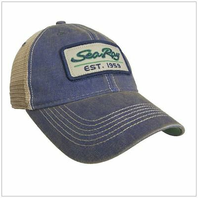 SeaRay Boats 100% Cotton/Mesh Back Legacy Cap Hat - Blue/Tan