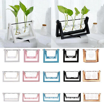 Glass Vase with Stand Decorative Clear Glass Planter Bulb Vase with Wooden Stand