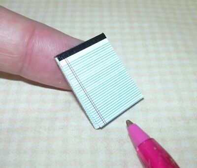Miniature WHITE LETTER Size Pad of Paper. BLACK Binding: DOLLHOUSE 1:12