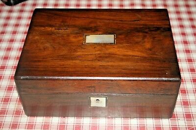 Antique Victorian Mahogany Wood Box Hinged Lid & Tray Sewing Jewellery Wooden