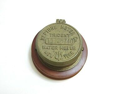 Vintage 1950's Era Neptune Meter Co Trident Water Meter Brass Cover Paperweight