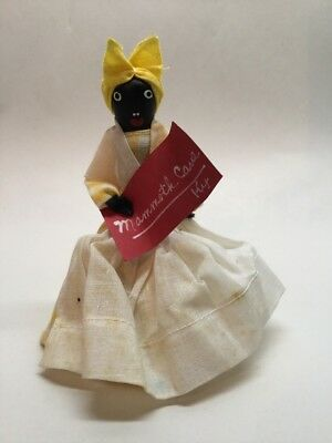 Vtg Black Americana Folk Art Dinner Bell Mammy Doll Mammoth Cave Souvenir Yellow