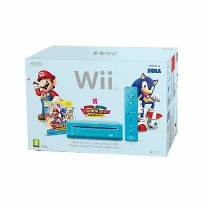 Nintendo Wii Console With Mario And Sonic Olympics 2012 Blue Very Good 8Z