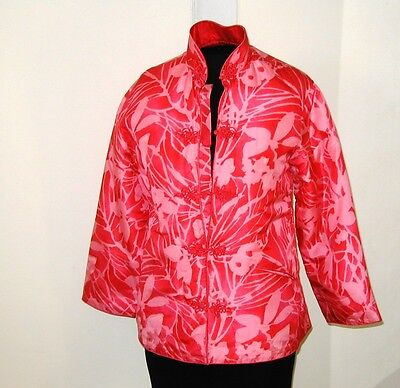 Vintage Pink Silk Chinese Asian Quilted Jacket Lined Tailor Made 1960 XSmall XS