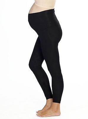 Maternity Foldable Waist Band Tight 7/8 Length Legging - Black/ Marl Grey