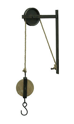 Zeckos Rustic Vintage Style Metal and Wood Pulley and Hook Wall Hanging