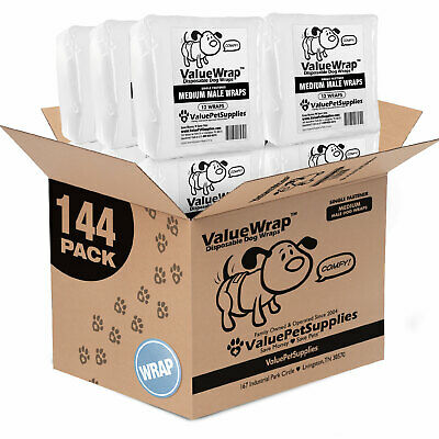 ValueWrap Disposable 1-Tab Male Wraps for Dogs, Medium 144ct (12x12ct)