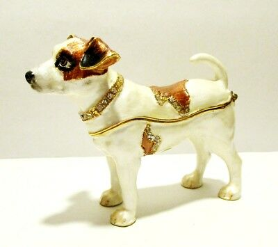 Jack Russell Terrier Dog Jeweled Hinged Trinket Box