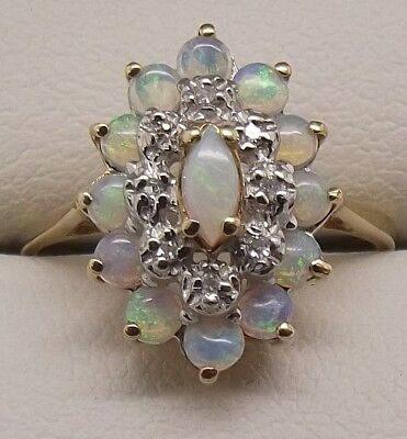 Solid 9Ct Yellow Gold Natural Diamond & Opal Dress Ring