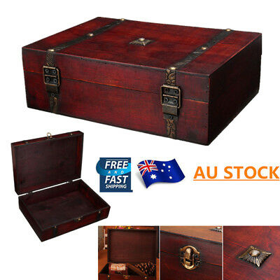 AU STOCK!Wooden Oversize Vintage Treasure Chest Wood Jewellery Storage Box Case