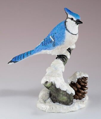 "Blue Jay In Snow Bird Figurine 4.75"" High - Highly Detailed New In Box"