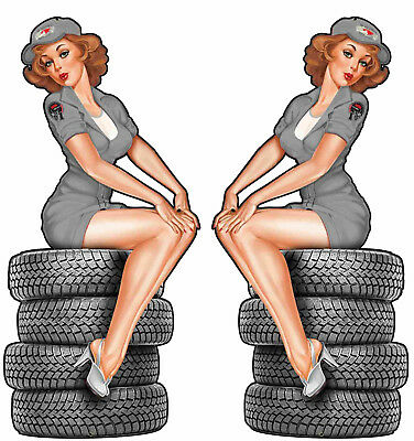 2er small Pinup Oldschool Aufkleber Tires Sticker Retro Pin up Auto Rockabilly