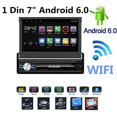 "1080P 7"" Android 6.0 1 DIN Car Video Player Radio Stereo Head Unit GPS Nav WIFI"