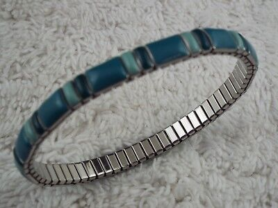 Silvertone Teal Blue Expansion Bracelet (B18)