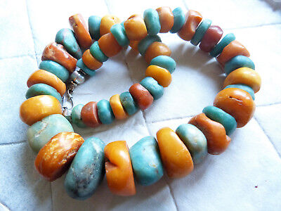 Antique Moroccan amber and ancient amazonite beads necklace, 178 g
