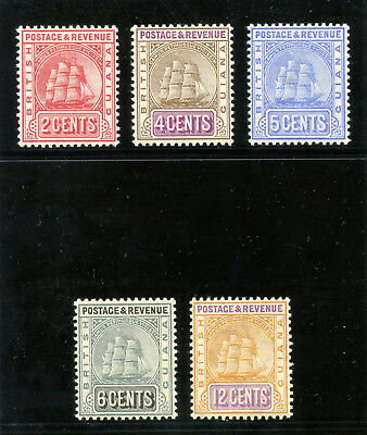 British Guiana 1907 KEVII set complete MLH. SG 253a-257.