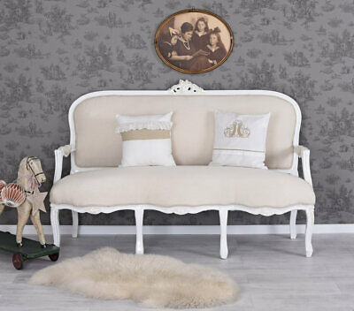 vintage sofa kanapee weiss sessel shabby chic armlehnstuhl rokoko boudoir eur 399 99 picclick it. Black Bedroom Furniture Sets. Home Design Ideas