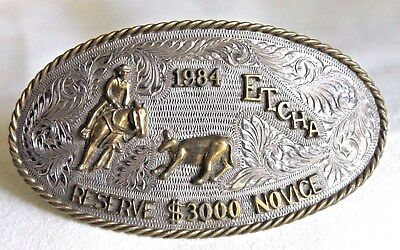 Vintage EAST TENNESSEE CUTTING HORSE Sterling Silver Rodeo Trophy Belt Buckle