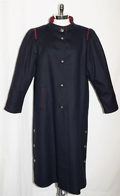 "BLACK "" WOOL + CASHMERE (25%) "" Women German Winter EXTRA LONG Over Coat / 18 XL"