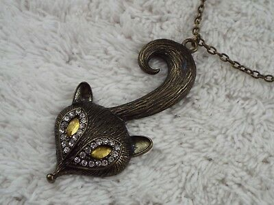 Brasstone Rhinestone Fox Pendant Necklace (C34)