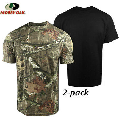 NEW 2 PK. MEN'S MOSSY OAK MOISTURE WICKING T-SHIRTS. CAMOUFLAGE+ BK or PRAIRIE