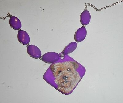 Norfolk Terrier dog Beaded Necklace Hand Painted Ceramic Pendant