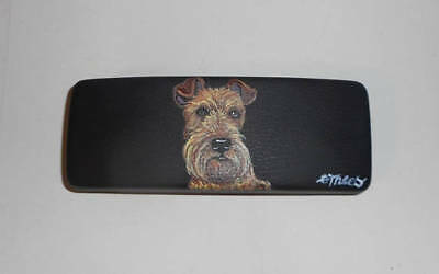 Irish Terrier Dog Hand Painted Eyeglass case faux Leather