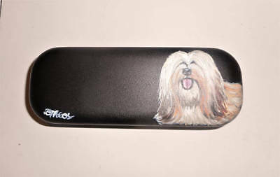 Lhasa Apso Dog Hand Painted Eyeglass case faux Leather