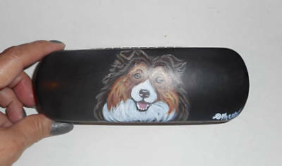 Shetland Sheepdog Sheltie Dog Hand Painted Eyeglass case faux Leather