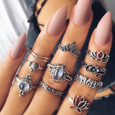 10Pcs/Set Retro Arrow Moon Midi Finger Knuckle Rings Boho Fashion Jewelry Gift G