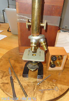 Antique Brass Microscope Marked Monthly Cyclopaedia In Box W/ Lenses