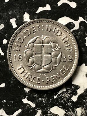 1937 Great Britain 3 Pence Threepence Lot#X3242 Silver!