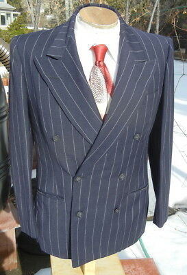 VTG 1939 Double Breasted Pinstripe Jacket 38S - Iconic Blue GANGSTER Sportcoat