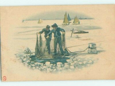 Old Postcard CHINESE MEN ICE FISHING WITH NETS Country Of China F4708