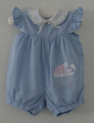 VINTAGE BABY GIRL Sz 00, BLUE ROMPER ~  COLLECTORS, REBORN DOLLS, PHOTO PROP
