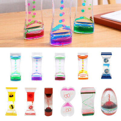 Liquid Motion Timer Bubbler for Sensory Play Fidget Toy Color Mix Oil Hourglass