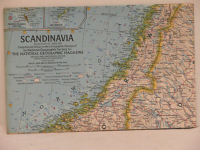 Vintage 1963 National Geographic Map of Scandinavia