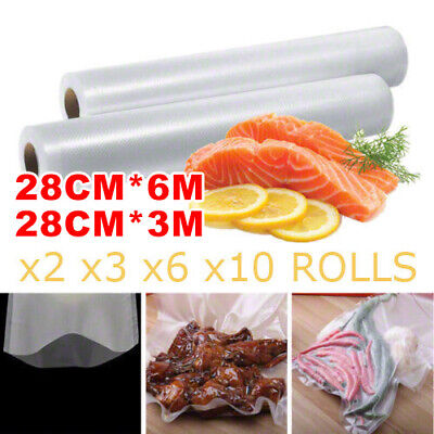 2/3/6/10x Vacuum Food Sealer Roll Bags Saver Storage Heat Commercial 3/6mx28cm