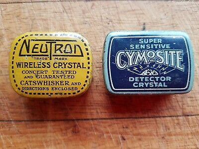 2 VINTAGE WIRELESS CRYSTAL TINS NEUTRON WITH INSTUCs +2 CRYSTALS CYMOSITE EMPTY