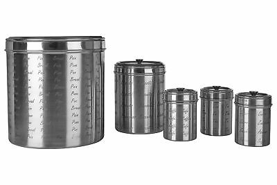 5pc Stainless Steel Tea Coffee Sugar Bread Biscuit Canister Container Caddy Set