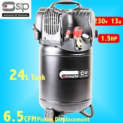 SIP 06249 Airmate 230v Oil Free 24L Vertical Air Compressor 6.5CFM 1.5HP 116psi