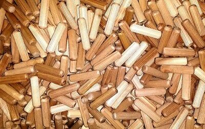 WOODEN DOWELS 6mm hardwood pegs fluted grooved plugs furniture joinery (173)