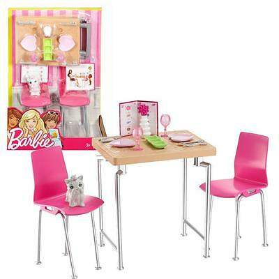 Barbie - Furniture Furnishing - Table & Chairs with Accessories Dining Room