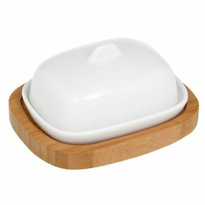 White Mini Butter Dish With Bamboo Stand Kitchen Accessories 25925