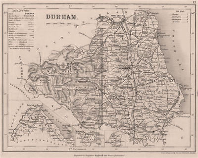 DURHAM county map w/ exclaves. DUGDALE/ARCHER. Seats polling places 1845