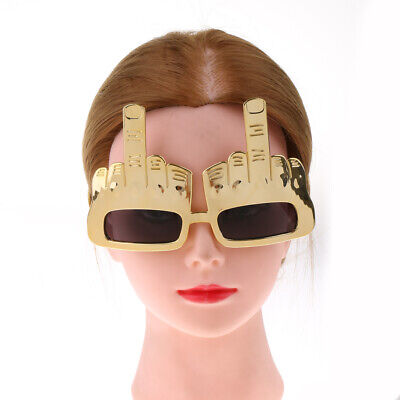 Novelty Gold Middle Finger Gesture Sunglasses Eye Glasses Party Dress Up