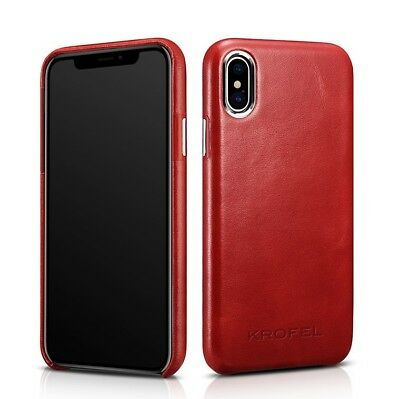 Krofel Genuine Leather Protective Skin Case for iPhone Xs (2018 Model) - (Red)