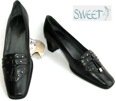 Sweet - Shoes Small Heels all Leather Black 37 - Mint