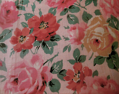 Antique French Roses Cotton Fabric ~ Pink Red Green on Blush ~ 1930's