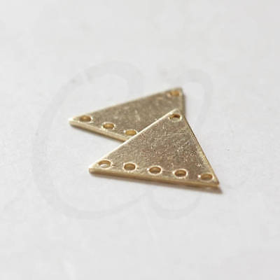 30 Pieces Raw Brass Triangle Charm with 6 Holes - 14.5x13mm (3797C-D-440X)